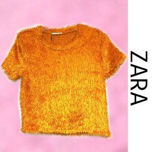 ZARA TRAFULAC Burnt Orange Fuzzy Crop Top Medium